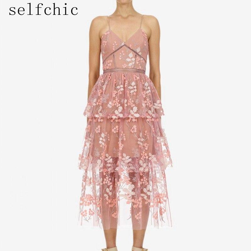 2019 летнее женское розовое платье сексуальные спагетти ремень цветочные вышитые платья