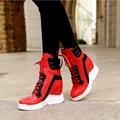 3 Cores Moda Mulheres Ankle Boots Lace-up Botas de Salto Dedo Do Pé Redondo-Altura crescente Sapatos De Alta Qualidade Mulher EUA tamanho 4-10.5