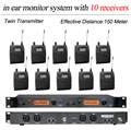 10 Pack Receivers +  Wireless In Ear Monitor System, Professional for 10 Musician in Church, Big Stage Performance, SR2050 IEM