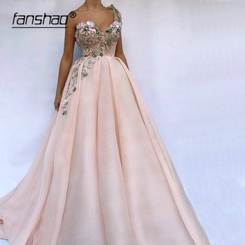Pink Muslim Evening Dresses One Shoulder vestidos de festa Dubai Saudi Arabic Evening Gown Prom Dress