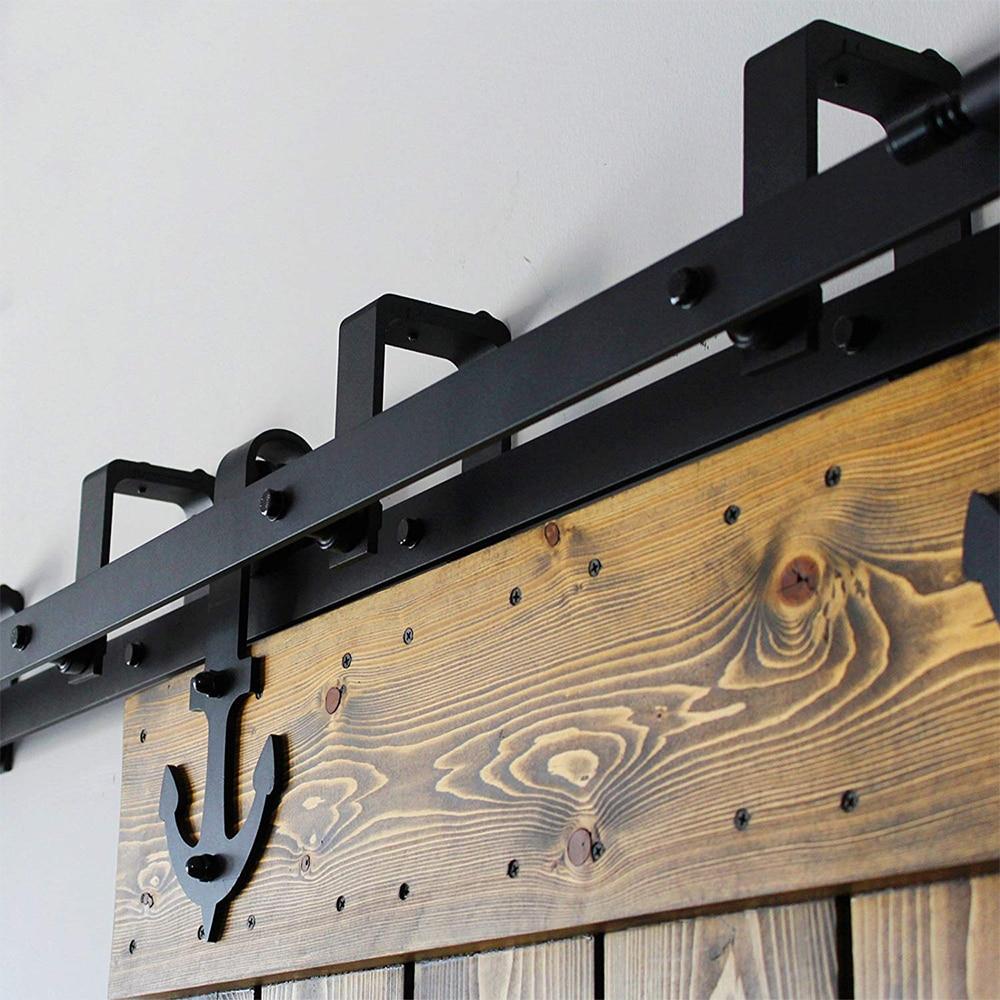 LWZH Sliding Wood Door Bypass Sliding Barn Door Hardware Kit Black Steel Anchor Shaped Track Rollers for Interior Double Door