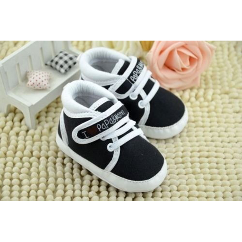 KEOL Best Sale Newborn Infant Baby I Love Papa Mama Soft Sole Crip Sport Shoes Sneakers Casual 9~12 Months 13cm black