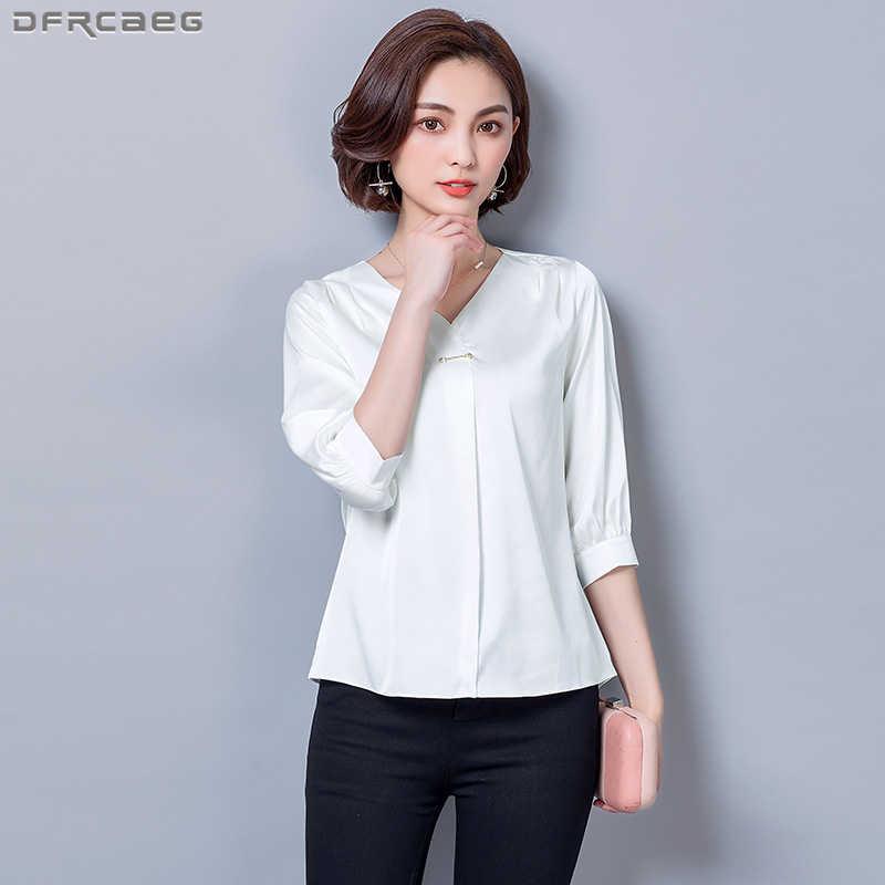 90ba6e73cf0 Три четверти рукав v-образным вырезом Для женщин рубашки свободные осень  шелковый атлас Блузка Элегантные