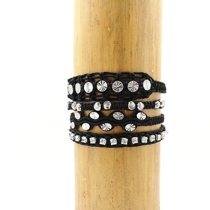 Perlas de cobre rodio pulseras trenzadas multicapa negro establece - Bisutería - foto 1