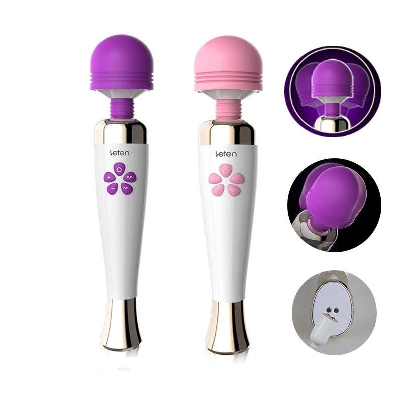 Buy Sex toys Woman Powerful USB Rechargeable Dildo Vibrator silicone magic wand G Spot clitoris Stimulator Female Masturbator