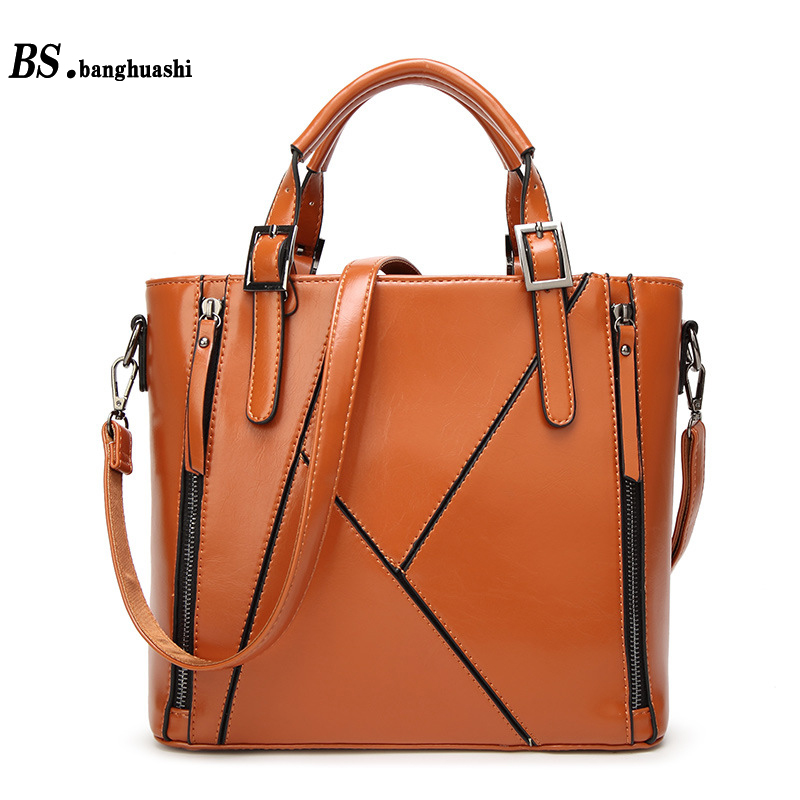 2017 new European and American handbag shoulder Messenger bag large bag pu oil wax leather stitching fashion ladies handbags dollar price new european and american ultra thin leather purse large zip clutch oil wax leather wallet portefeuille femme cuir