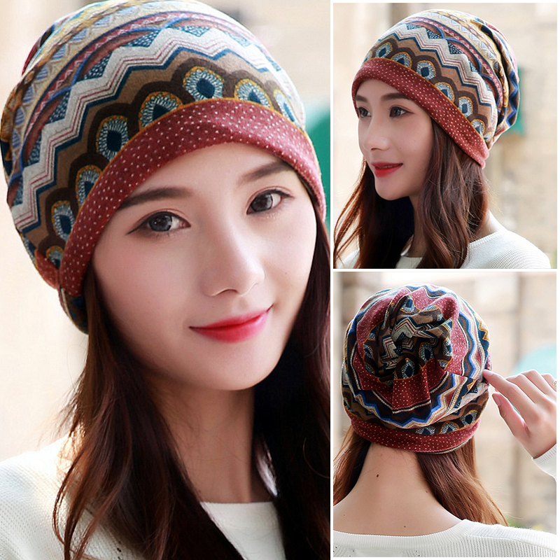 LongKeeper Women Beanies Skullies Lady Fashion High Quality Hip Hop Floral Winter Cap Scarf Adult Polyester Autumn Hat Headdress skullies
