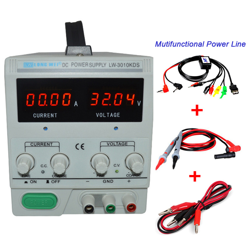 High Precision 4 Digits DC Regulated Power Supply 30V 10A 3010KDS LED Display Laboratory Switching Power Supply for Phone Repair