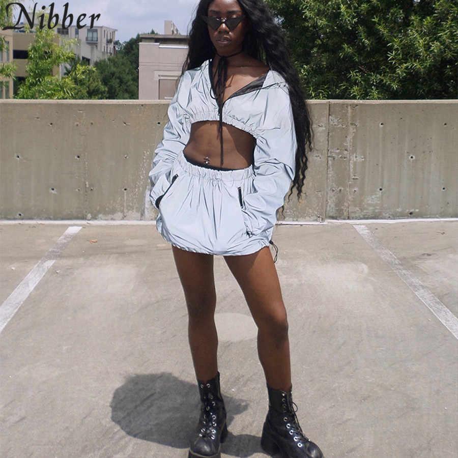 Nibber/Лидер продаж, пуловер с капюшоном, топ и низ, комплект из 2 предметов, отражающий Короткий плащ, юбка, костюм, Новая женская модная юбка, рубашка