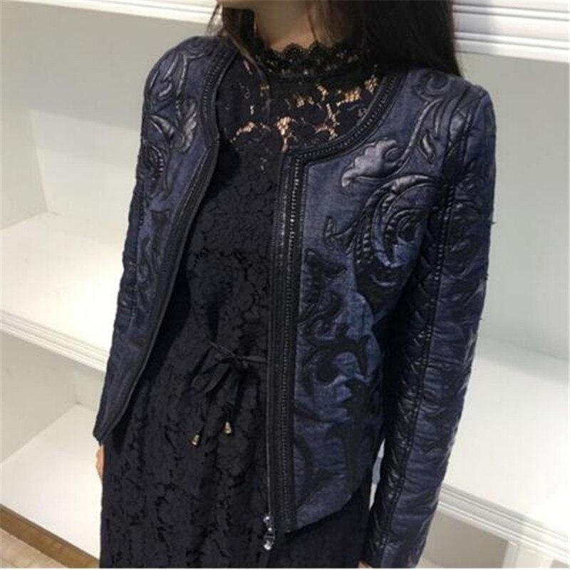 Super haute qualité 2018 printemps automne Denim basique femmes veste court col rond cowboy couture PU lavé en cuir manteau