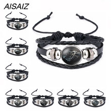 Game of Thrones House Stark Wolf Glass Cabochon Leather Bracelets Multi Layers Weave Handmade Punk Black Men Bracelet Avengers 4(China)