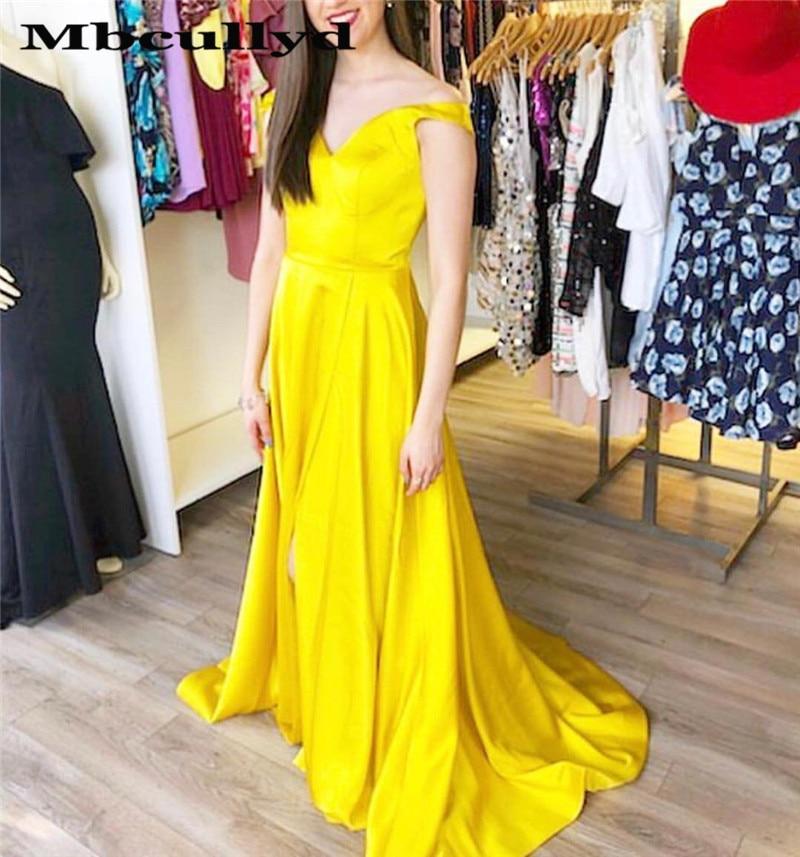 Chic Gold V-neck   Prom     Dresses   Long 2019 High Side Split A-line Evening   Dress   Formal For Women robe de soiree Cheap