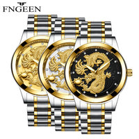 FNGEEN New Watches Men Fashion Male Stainless Steel Waterproof Business Men WristWatch Relogio Masculino Oriental Dragon Design