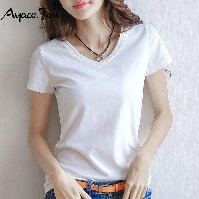 2019 primavera verano Mujer Camiseta de algodón negro con cuello en V manga corta Mujer camiseta blanca delgada Casual sólida señora camiseta Tops