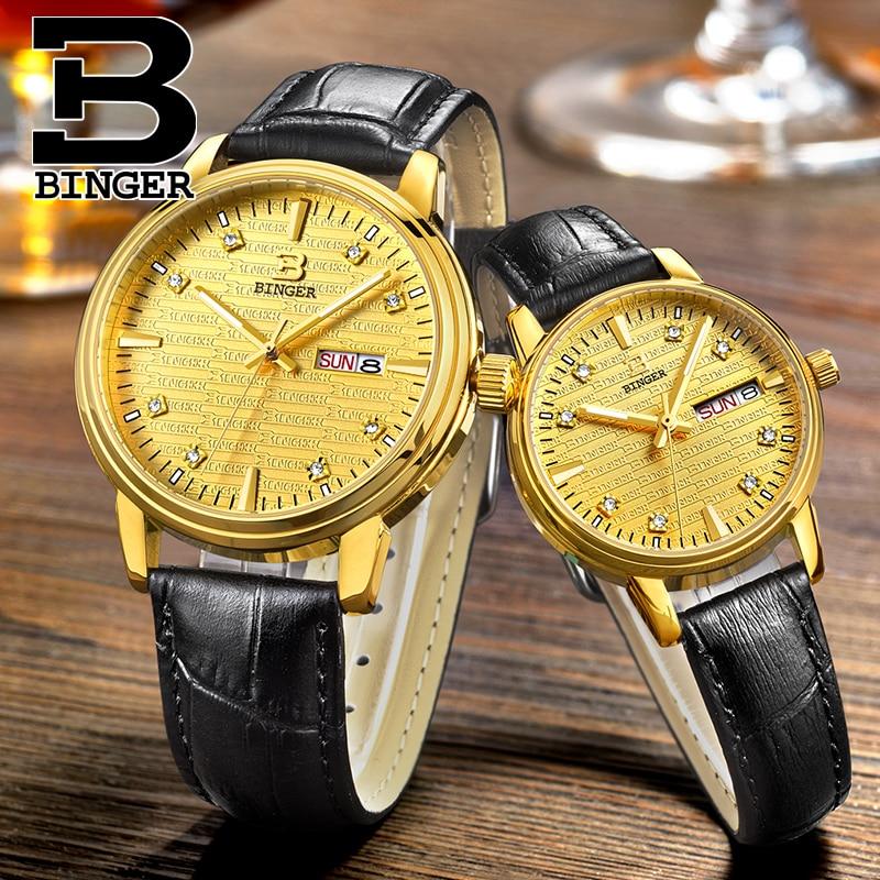 Personalized Brand LOGO Tattoo Watches Lovers Japan Quartz Analog Watch Waterproof Real Leather Strap Wrist watch Week Calendar analog watch