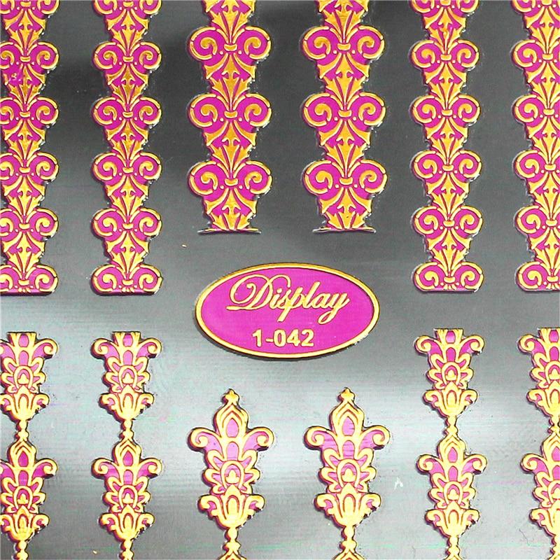 Hoge kwaliteit gemengde ontwerpen 3d gouden nail art stickers decals - Nagel kunst
