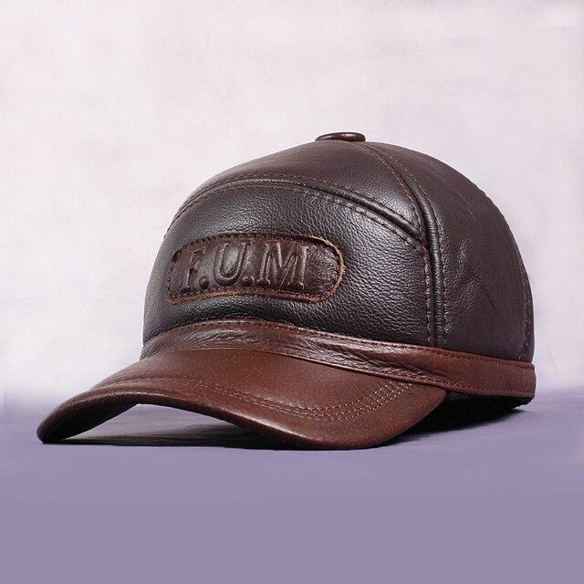 Зима Теплая Шляпа Для Мужчин Настоящее Натурального Меха Кожа Бейсболки Подлинной Овчины Регулируемая Шляпа С Ушами Для Взрослых