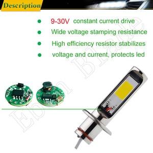 Image 3 - 2 pçs h1 auto led luzes de nevoeiro alta potência cob 80 w amarelo dourado 3000 k luz circulação diurna drl lâmpada condução 12 v 24 v 30 v ac