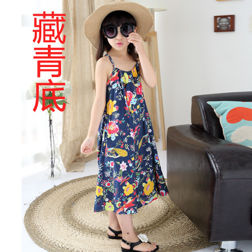 2018 New Summer Girls Floral Dress niños gran virgen retro chaleco - Ropa de ninos - foto 3