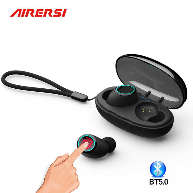 True Wireless Earphone Bluetooth 5.0 TWS touch HD stereo Earbuds sports Headset With capsule Charging case for all smart phone