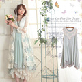 Harajuku primavera verano mujeres explosión sweet lolita de encaje de algodón sin mangas lindo kawaii femenino princesa dress mori chica c104