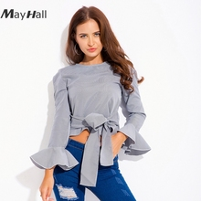 MAYHALL 2018 Spring new fashion sweet casual flare sleeve shirt striped MH003