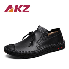 AKZ Spring Summer Man Loafers Cow Split Leather Men Casual shoes Comfortable High Quality Light Soft Male Flats shoes Lace up недорого