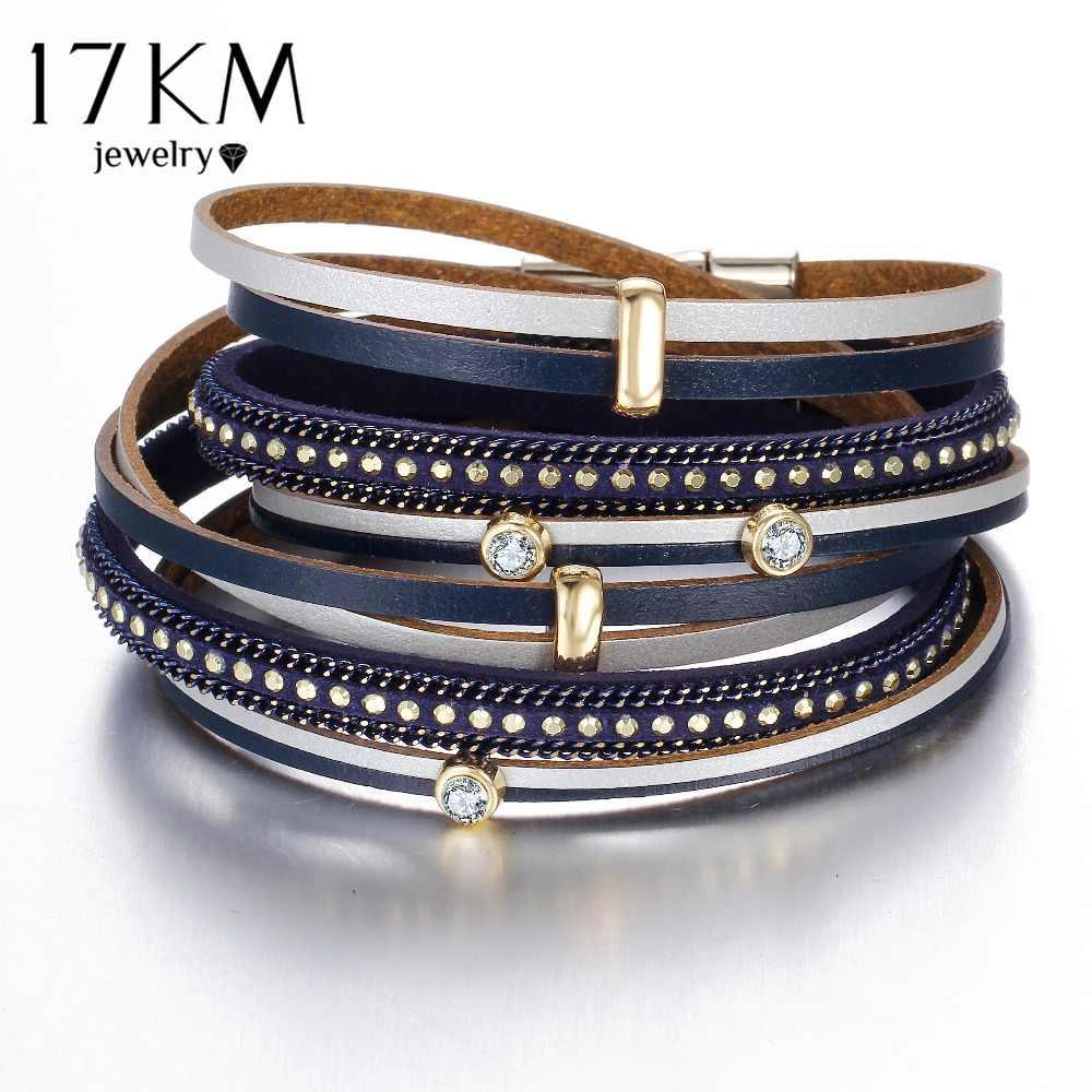 17 KM nowa moda kryształowe koraliki Charms bransoletki i Bangles dla kobiet mężczyzn wielu warstw skórzana bransoletka oświadczenie Party biżuteria