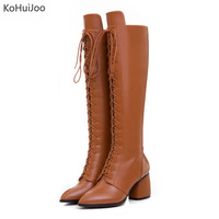 KoHuiJoo Big Size Mid Heel Martin Boots For Women Knee Length Lace Up Square Heel Woman