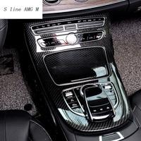 Car styling Console Panel Cover Frame Trim carbon fiber Line Sticker For Mercedes Benz C Class W205 2015 2017 GLC Accessories