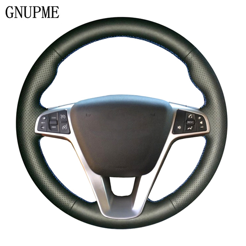 GNUPME DIY Black Genuine Leather Hand-stitched Car Steering Wheel Cover for Lada Vesta 2015 2016 2017 wcarfun diy black leather hand stitched car steering wheel cover for lada vesta 2015 2016 2017