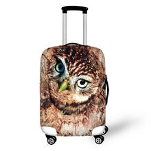 Brown Owl Print Travel Accessories Suitcase Protective Covers 18-32 Inch Elastic Luggage Dust Cover Case Stretchable