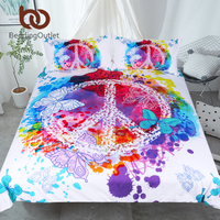 BeddingOutlet Watercolor Butterfly Bedding Set Colorful Printed Quilt Cover With Pillowcases Peace Design Bed Set 3
