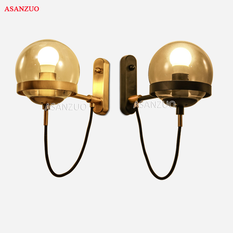 Modern modo glass globes wall sconce creative glass Black/Gold ball Magic Beans wall light for bedroom Aisle deco Wall Lamp lukloy wall lamp lights modern modo magic bean double head branch sconce globes dna wall lighting