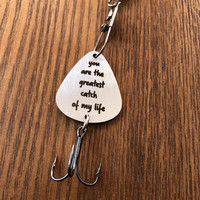 You are My Greatest Catch Fishing Gift Fishing Lure Mens Gift Fishing Lure Stainless Steel Key Ring Fish Hook Pendant 3