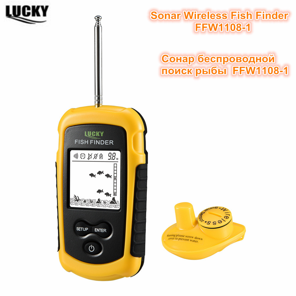 Waterproof Fish Finder FFW1108-1 Wireless Echo Sounders Sonar FindFish Deeper Alarm For Ice River Fishing 130feet/40meter FinderWaterproof Fish Finder FFW1108-1 Wireless Echo Sounders Sonar FindFish Deeper Alarm For Ice River Fishing 130feet/40meter Finder