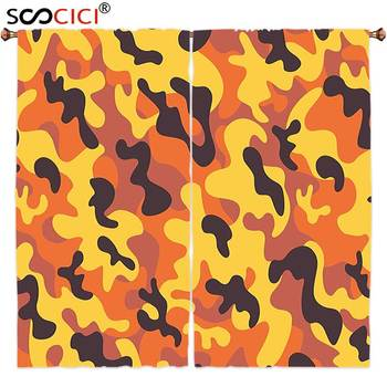 Window Curtains Treatments 2 Panels,Camo Lively Colors Retro Style Camouflage Defense Hidden Soldier Modern Artsy Yellow Orange