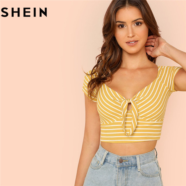 07e674f908 SHEIN Ginger V Neck Rib Knit Striped Casual Short Top Tees Cotton 2018 New  Women Short Sleeve Knot Front Summer Crop T-shirts
