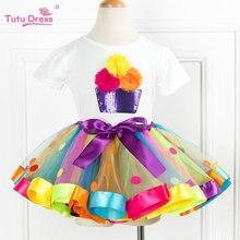 Summ/футболка с цветочным принтом для девочек+ юбка-пачка детские топы с короткими рукавами для маленьких девочек, платье для дня рождения комплекты одежды из 2 предметов