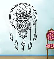 D402 Dream Catcher Owl Tatuajes de Pared de Vinilo Etiqueta de la pared de Cama de Plumas Arte Geométrico Creativo pegatina animal mural para la Decoración Del Hogar