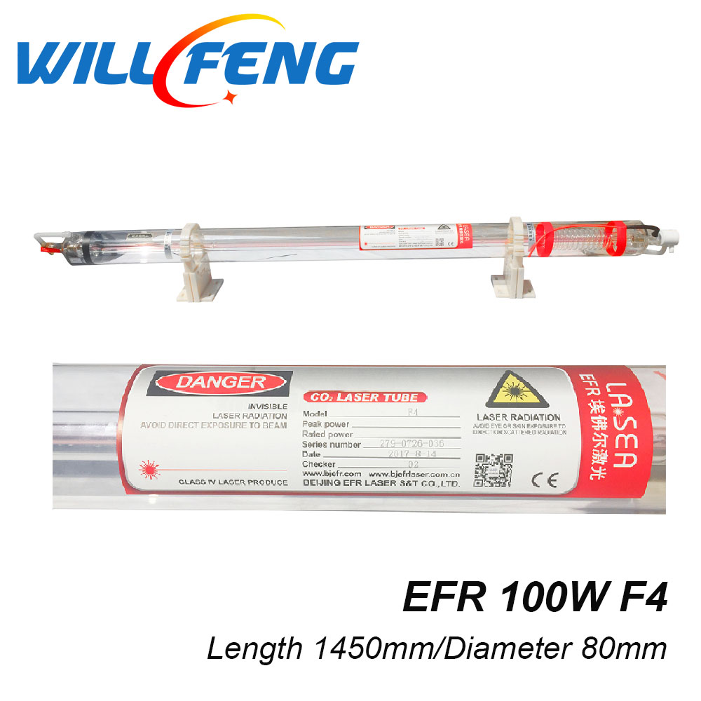 EFR F4 100W CO2 laser tube 100w Carbon Dioxide Laser length 1450mm diameter 80mm for Co2