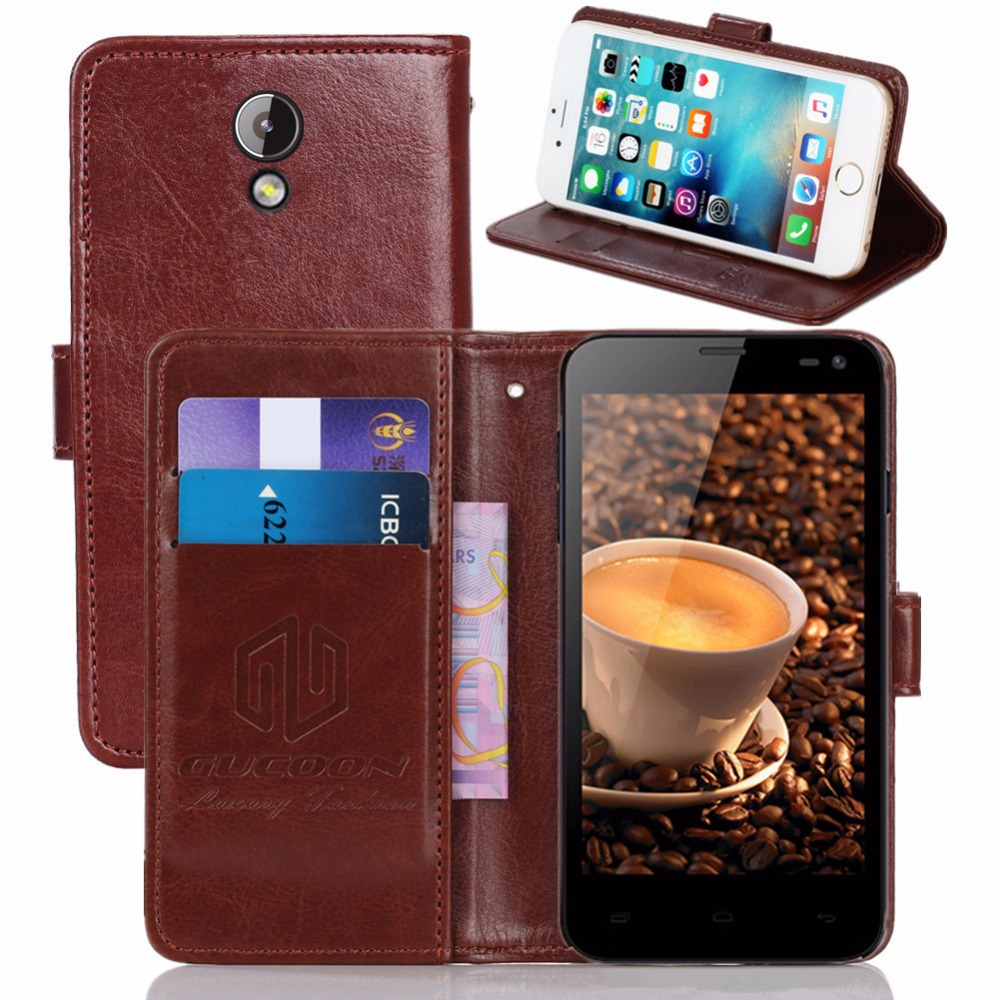 GUCOON Vintage Wallet Case for Fly IQ4416 Era Life 5 4.5inch PU Leather Retro Flip Cover Magnetic Fashion Cases Kickstand Strap