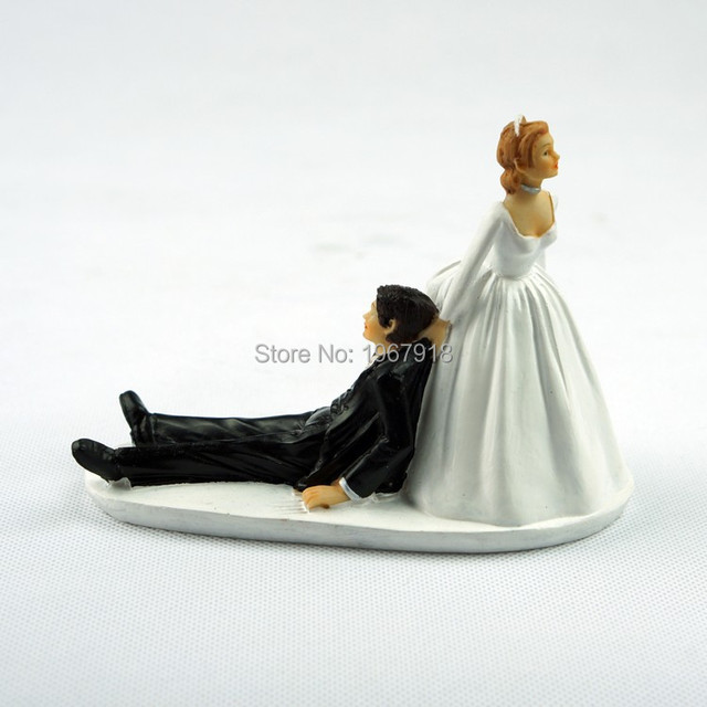 Funny Bride Groom Wedding Resin Cake Topper Stand Accessories Casamento