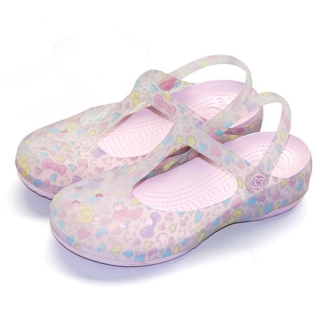 66975b249 Women Anti-slip Holes Slippers Women's Summer Print Non-slip Flat Leisure Beach  Sandals