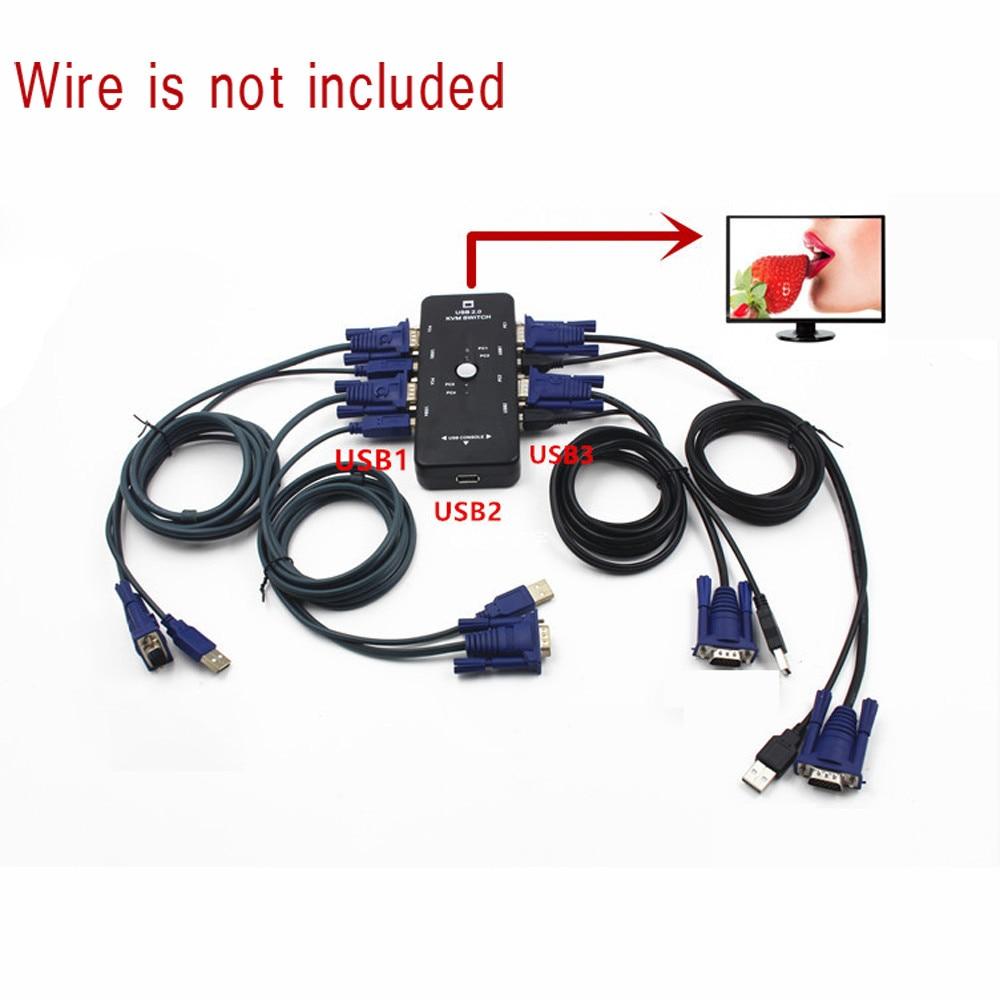 New 4-Port USB 2.0 KVM Switch Mouse/Keyboard/VGA Video Monitor 200MHz 1920x1440 Oct.30