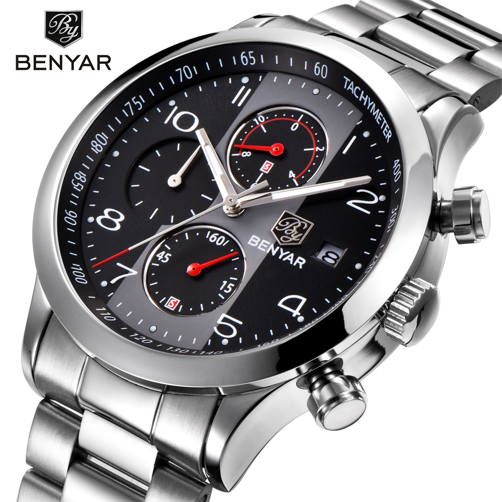 BENYAR Fashion Chronograph Sport Watches Men Stainless Steel Strap Brand Quartz Watch Clock Relogio Masculino Reloj Hombre black weide popular brand new fashion digital led watch men waterproof sport watches man white dial stainless steel relogio masculino