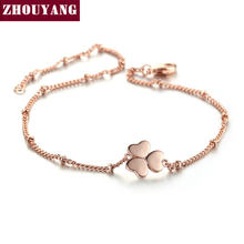 Heart Clover Charming Bracelet Rose Gold Color Jewelry Party Wedding Gift For Women Top Quality H142(China)