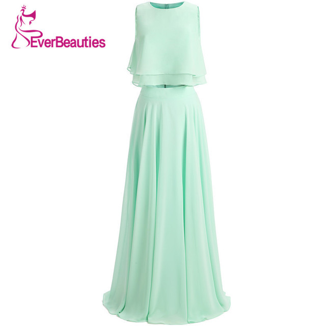 Mint Green Bridesmaid Dresses New 2019 Two Pieces Chiffon with Pleat Long Wedding Party Gown Vestidos Madrinha