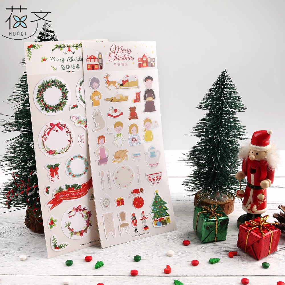 huaqi Christmas tree flower Merry Christmas Adhesive Stickers Scrapbooking DIY Decoration Stickers Mobile Phone Stickers gift