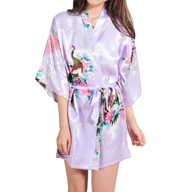 Kimono Robes for Brides Wedding Robe Sleepwear Silk Pijama Casual Bathrobe Animal Rayon short Nightgown Women
